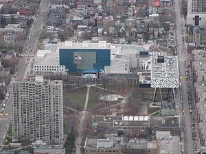 OCAD University - Aerial view of Grange Park, with OCADU visible to the right, and the Art Gallery of Ontario in the background.