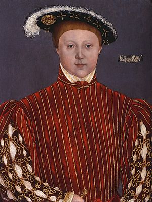 "Lumley inventories -  Portrait of Edward VI of England after Hans Holbein the Younger, called ""The Lumley portrait of King Edward VI, as Prince of Wales"". The Lumley cartellino can be seen on the right of the portrait"