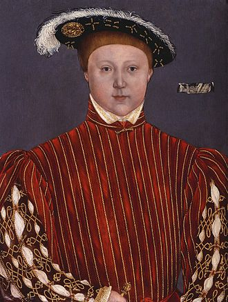 """Lumley inventories - Portrait of Edward VI of England after Hans Holbein the Younger, called """"The Lumley portrait of King Edward VI, as Prince of Wales"""". The Lumley cartellino can be seen on the right of the portrait."""
