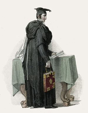 Proctor - Proctor of the University of Cambridge, aquatint by John Samuel Agar after Thomas Uwins, from History of the University of Cambridge (1815) by William Combe