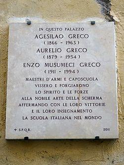 Agesilao aurelio enzo musumeci greco plaque   via del seminario 87 roma