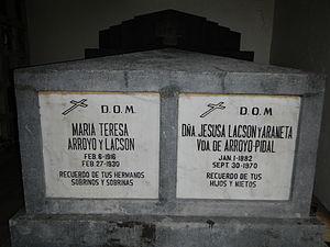 Jose Miguel Arroyo - Tomb of Arroyo's ancestresses, Jesusa Araneta-Lacson and María Teresa Arroyo, in the graveyard adjoining Santuario de Santo Cristo, San Juan, Metro Manila