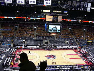 Air Canada Centre - A Raptors game vs the Sacramento Kings with the previous logo and colours, as well as the old scoreboard.