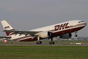 European Air Transport (Belgium) - Airbus A300B4-200F of EAT taking off from Frankfurt Airport.