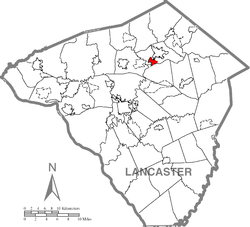 Location of Akron in Lancaster County