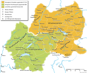 Swabia - Duchy of Swabia around AD1000 shown in gold yellow including (present day) southern Alsace, the southern part of Baden-Württemberg, Bavarian Swabia, Vorarlberg in Austria, Liechtenstein, eastern Switzerland and small parts of northern Italy. In green: Upper Burgundy.