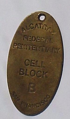 An Alcatraz Island Prison prisoner tag