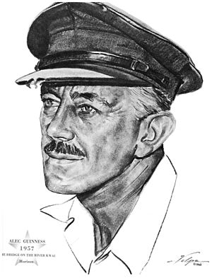 Alec Guinness - Drawing by Nicholas Volpe after Guinness won an Oscar in 1957 for his role in The Bridge on the River Kwai