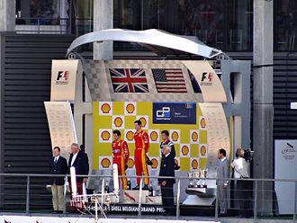 Alexander Rossi - Rossi on the podium after winning a GP2 series race at Spa-Francorchamps in 2015