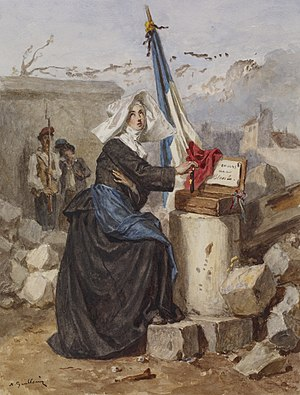 Gouache - Image: Alexandre Marie Guillemin Aid for the Wounded (Sister of Charity) Walters 371413