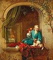Alexis Van Hamme - Ein Junge am Fenster mit Hündchen und Papagei.jpg