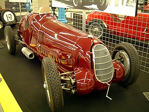 Mogadiscio circuit - A late version of the Alfa Romeo 1750 (winner of the 1938 Circuito Montecarlo) in a Museum