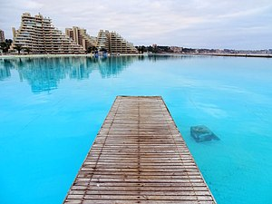 San Alfonso del Mar - The swimming pool at San Alfonso del Mar from ground level