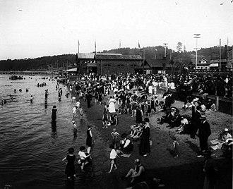 Alki Point, Seattle - Alki Point bathing beach, 1930, by Asahel Curtis