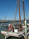 "Starboard view of scow schooner ""Alma"", Hyde Street Pier, San Francisco Maritime National Historic Park."