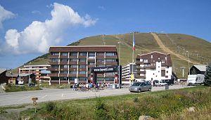 Alpe d'Huez - Tour de France arrival line, avenue du Rif Nel.