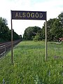 Alsógöd train stop, name sign, 2020 Göd.jpg