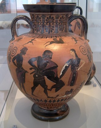 Neck Amphora by Exekias (Berlin F 1720) - Amphora from the outskirts of Group E, also depicting Herakles' fight with the Nemean lion, of about the same age and now displayed with Amphora F 1720