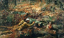 This battle scene was painted in 1919 by artist Frank Schoonover. The scene depicts the bravery of Alvin C. York in 1918.