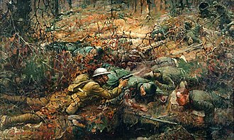 Alvin York - This battle scene was painted in 1919 by artist Frank Schoonover. The scene depicts the bravery of Alvin C. York in 1918.