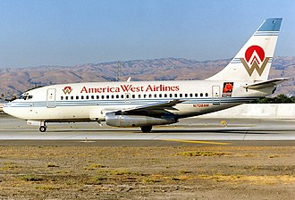 America West Airlines - Boeing 737-112 at San Jose International Airport in 1993