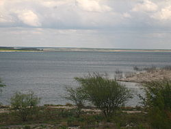 Amistad Reservoir, popular for water sports, is west of Del Rio