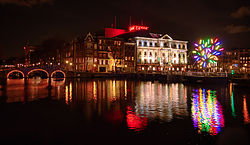 Carré Theatre during Amsterdam Light Festival 13/14 featuring Big Tree by Jacques Rival