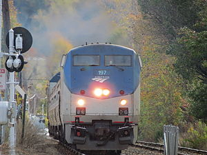Downeaster (train) - In November 2012, the Downeaster traveled through Wakefield, Massachusetts, on the inner Haverhill Line during track work on the Lowell Line.