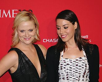Amy Poehler - Poehler with Parks and Recreation co-star Aubrey Plaza at the 2012 Time 100 gala