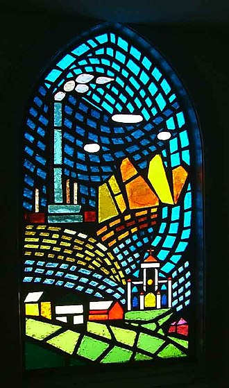 Deer Lodge County, Montana - The old Anaconda Smelter Stack, as depicted in the stained glass window of an Anaconda church