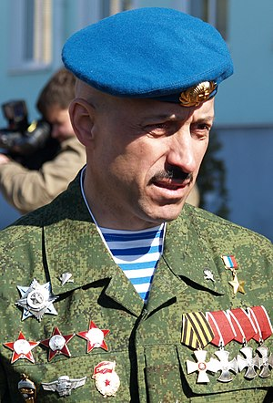 Lieutenant colonel Anatoly Lebed wearing his three Orders of the Red Star earned in Afghanistan (Photo from Russian Def Min) Anatoly Lebed.jpg