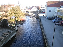 View of the river that runs through the town
