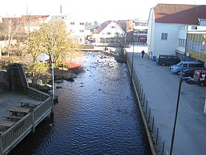 Bryne - View of the river that runs through the town