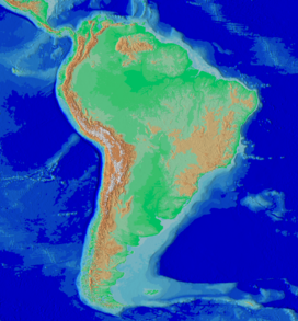 Map of South America showing the Andes running along the entire western part (roughly parallel to the Pacific coast) of the continent