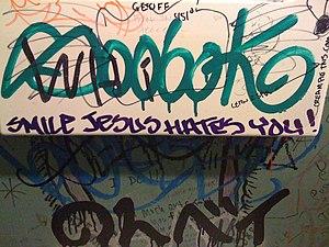 Anti-Christian graffiti.
