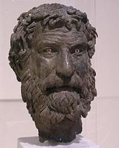 Bronze head of bearded man.