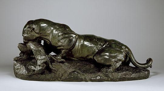 Antoine-Louis Barye - Jaguar Devouring a Hare - Walters 27180 - Profile