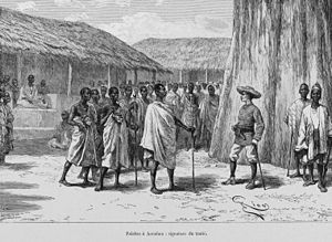 Ivory Coast - Louis-Gustave Binger of French West Africa in 1892 treaty signing with Famienkro leaders, in present-day N'zi-Comoé Region, Ivory Coast