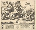 Apollo in his horse-drawn chariot at the left, above him above Jupiter hurls a thunderbolt, Venus at right in her chariot drawn by animals MET DP824408.jpg
