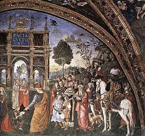 Giovanni Borgia, 2nd Duke of Gandia - Image: Appartamento borgia, sala dei santi, disputa di santa caterina, dettaglio 2
