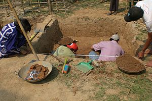 Wari-Bateshwar ruins - Taking measurement for a new dig.
