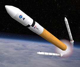Artist's impression of an Ares V during SRB separation