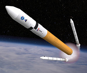 Ares V - Artist's impression of an Ares V during SRB separation