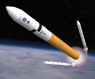 Ares V - Artist's impression of an Ares V during solid rocket booster separation