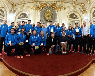 Argentina Davis Cup team - The Argentine team with the trophies won at Casa Rosada, November 2016.