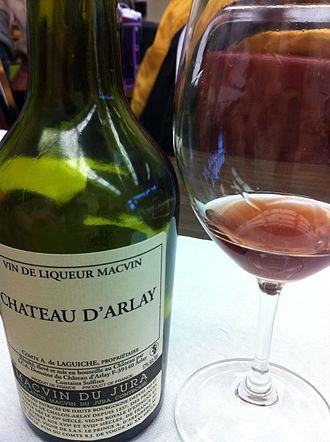 Jura wine - A red Macvin du Jura.