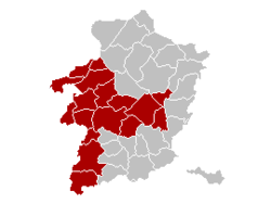 Location of the arrondissement in Limburg