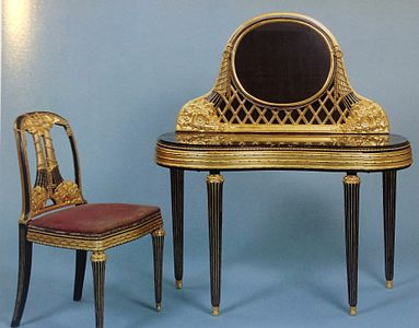Dressing Table And Chair Of Marble Encrusted Lacquered Gilded Wood By Paul Follot 1919 1920