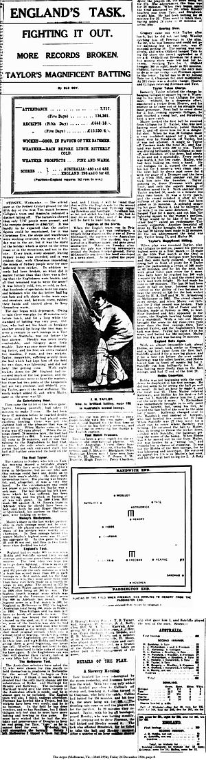 English cricket team in Australia in 1924–25 - Newspaper article describing batting on the fifth day of the first Ashes test, with Taylor's 108 in the record 10th wicket partnership.