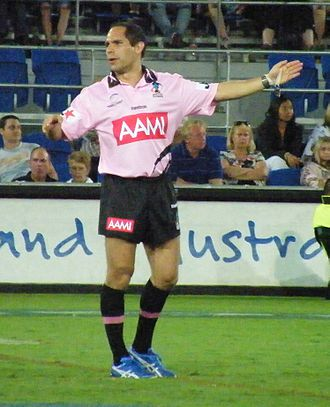 Rugby league match officials - Referee Ashley Klein awards a penalty
